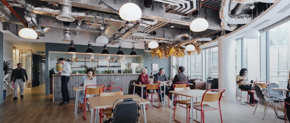A breakout space at We Work Spitalfields